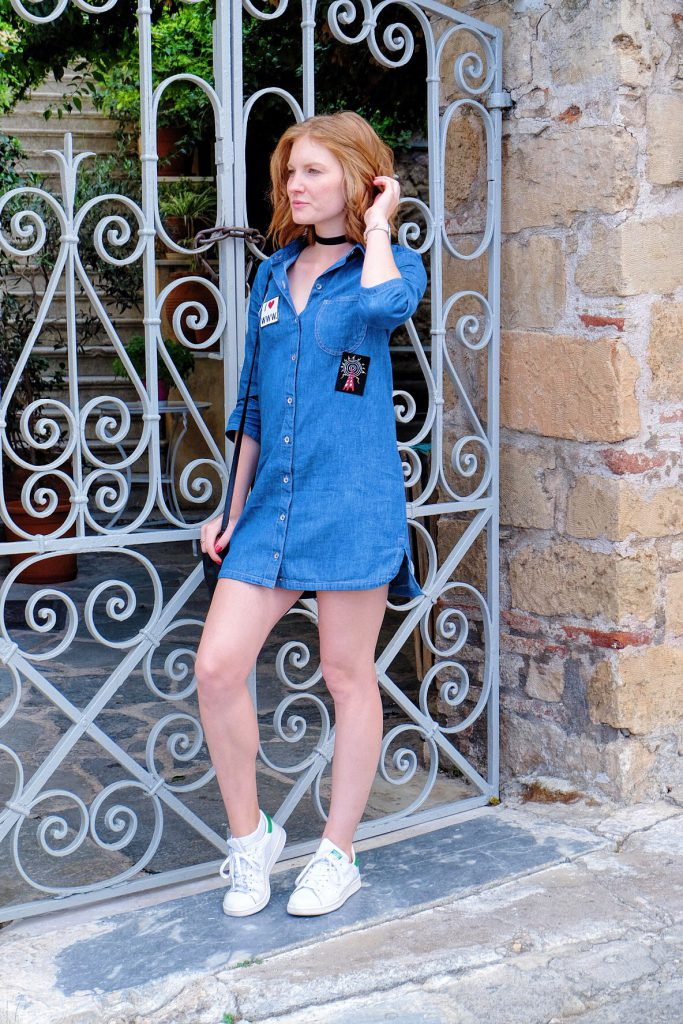 OUTFIT: PATCHED DENIM DRESS